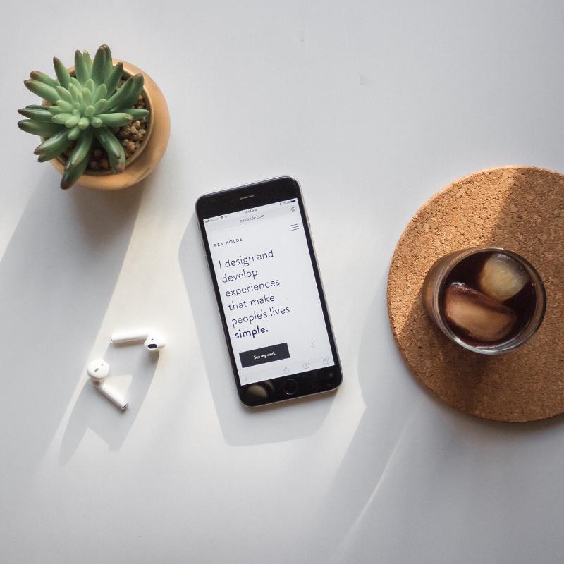 succuent mobile phone coffee ear buds | Beaconworth Digital