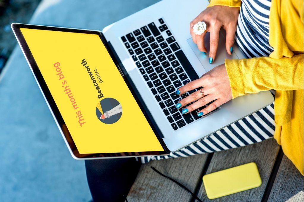 woman on laptop writing a blog
